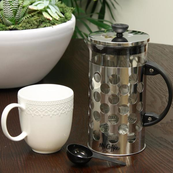 Mr Coffee Polka Dot Brew 4 Cup Silver Coffee Press With Scoop 985100696m The Home Depot