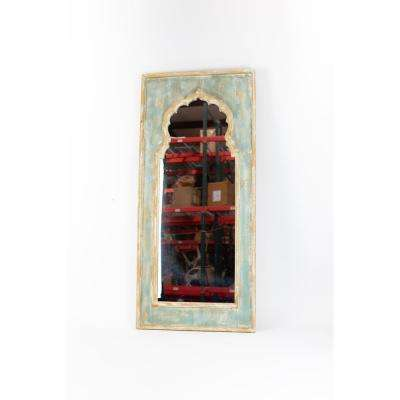 Moroccan Gold and Blue Wooden Frame Decorative Wall Mirror