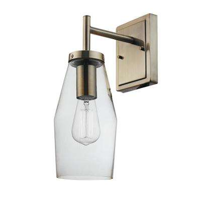 Blake 1-Light Antique Brass Wall Sconce with Clear Glass Shade