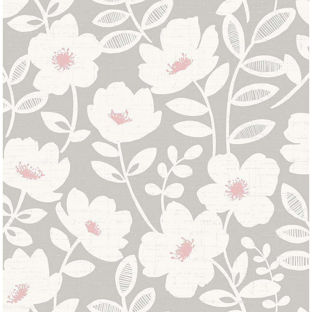 Brewster 8 in. x 10 in. Bergman Pink Scandi Flower Wallpaper