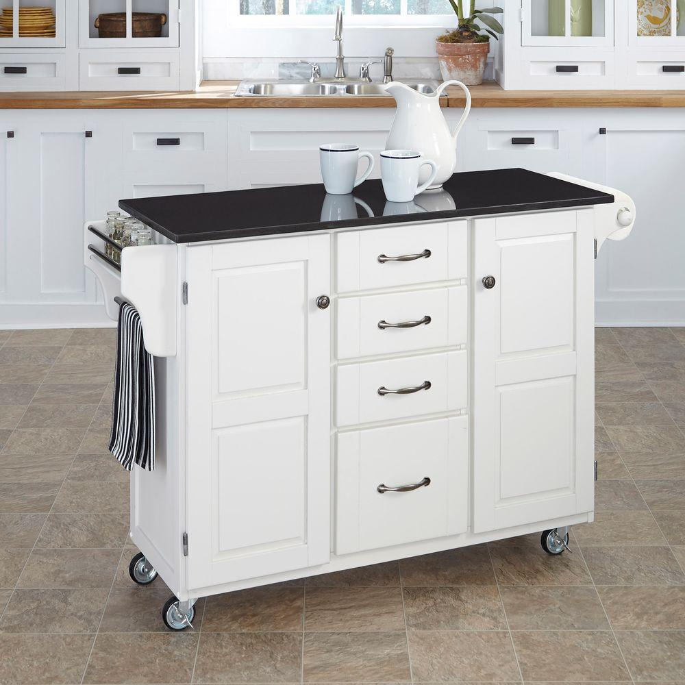 Create A Cart White Kitchen Cart With Black Granite Top