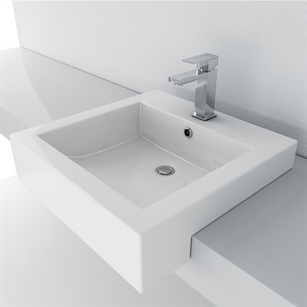 Semi Recessed Bathroom Sink. Filament Design Cantrio Semi Recessed Bathroom Sink In White