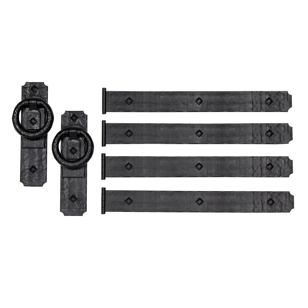 Rustic Rings 10 in. x 4.375 in. Black Magnetic Garage Door Hardware (6-Piece)