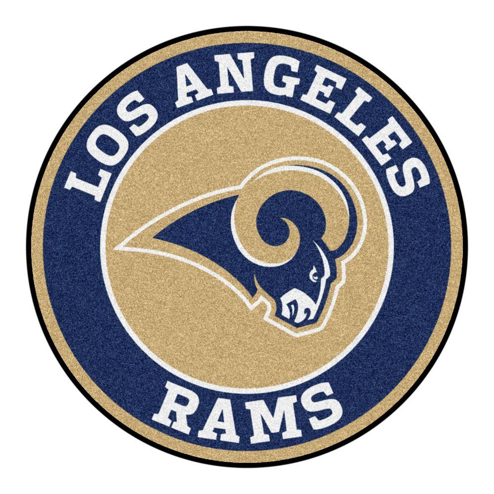 FANMATS NFL Los Angeles Rams Navy 2 ft. 3 in. x 2 ft. 3 in. Round Accent Rug-17976 - The Home Depot