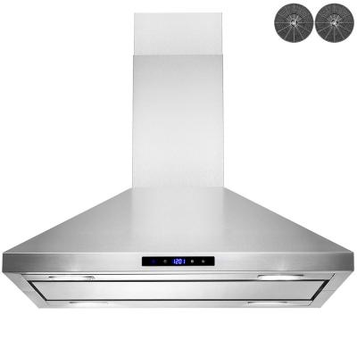 30 in. Convertible Island Mount Kitchen Range Hood in Stainless Steel with LED Lights, Touch Control and Carbon Filters