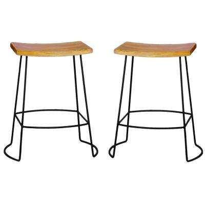 Reece 24 in. Black and Natural Bar Stool (Set of 2)