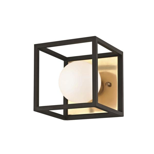 Aira 1-Light Aged Brass 5 in. W LED Bath Light with Opal Etched Glass and Black Accents