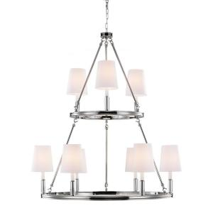 Lismore 9-Light Polished Nickel Multi-Tier Chandelier Shade