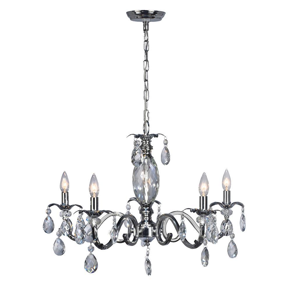 Tadpoles 5 light black onyx chandelier cch5pl020 the home depot 5 light clara chrome chandelier arubaitofo Images