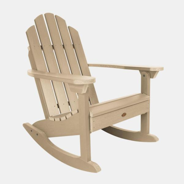 Classic Westport Tuscan Taupe Plastic Outdoor Adirondack Rocking Chair