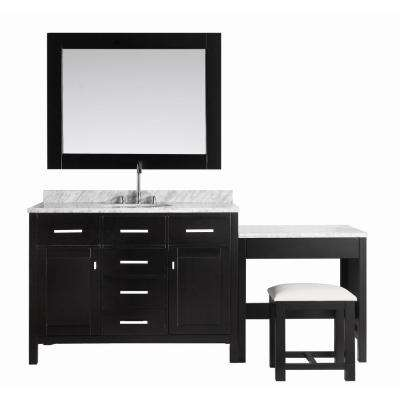 London 48 in. W x 22 in. D Vanity in Espresso with Marble Vanity Top in Carrara White, Mirror and Makeup Table