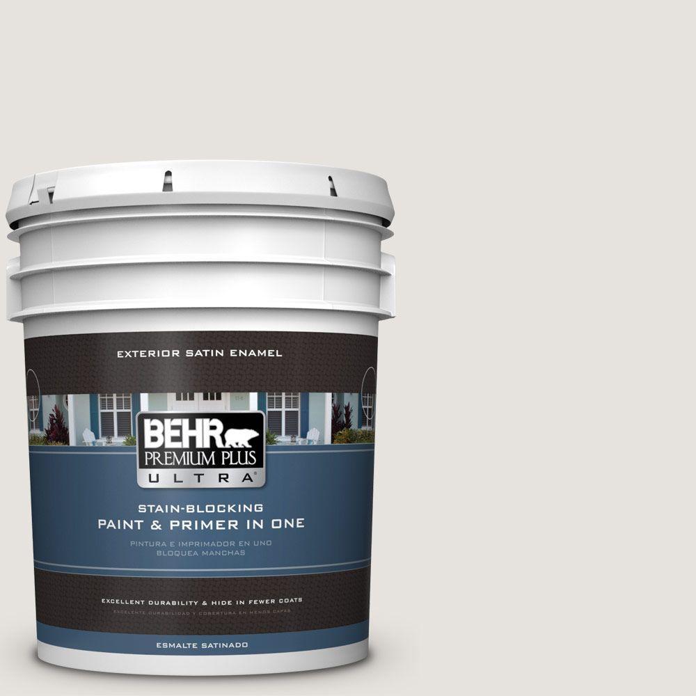 BEHR Premium Plus Ultra 5-gal. #PPU18-8 Painter's White Satin Enamel Exterior Paint