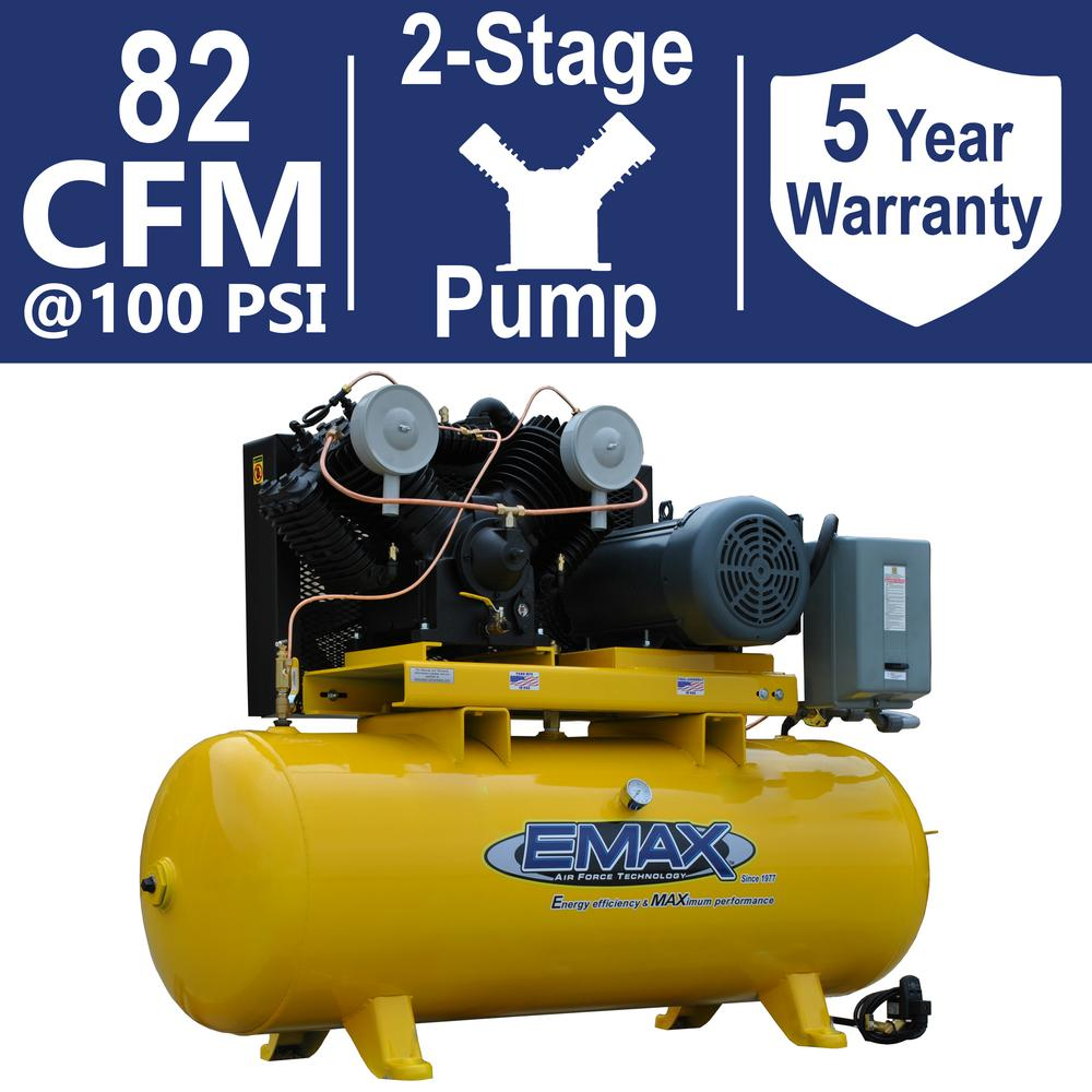 EMAX Industrial Plus Series 120 Gal. 20 HP 460-Volt 3-Phase 2-Stage Stationary Electric Air Compressor