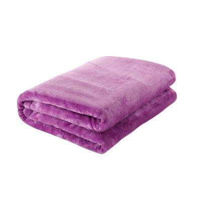 49 in. W x 61 in. L Lavender Solid Polyester Throw Blanket