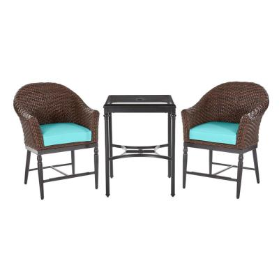 Camden 3-Piece Dark Brown Wicker Outdoor Patio Balcony Height Bistro Set with CushionGuard Seaglass Turquoise Cushions
