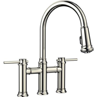 Empressa 2-Handle Bridge Kitchen Faucet with Pull-Down Sprayer in Polished Nickel