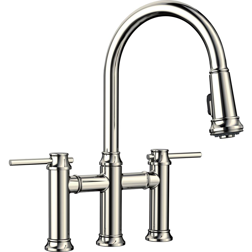 Blanco Empressa 2 Handle Bridge Kitchen Faucet with Pull Down