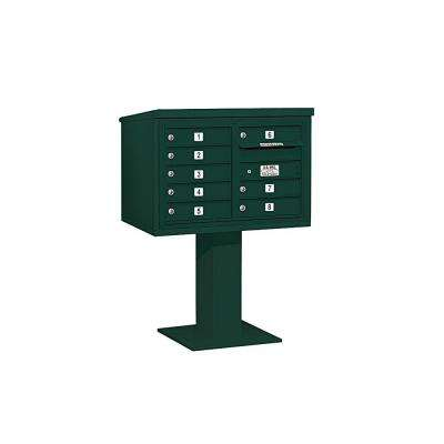 3400 Series 48-1/8 in. 5 Door High Unit Green 4C Pedestal Mailbox with 8 MB1 Doors