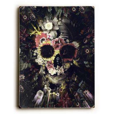 "9 in. x 12 in. ""Garden Skull Dark"" by Ali Gulec Solid Wood Wall Art"