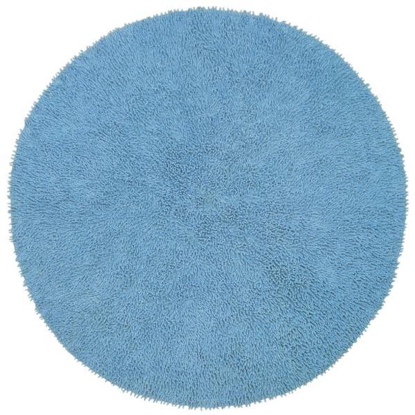 Unbranded Light Blue Shag Chenille Twist 5 Ft X 5 Ft Round Area Rug Chs5002r The Home Depot