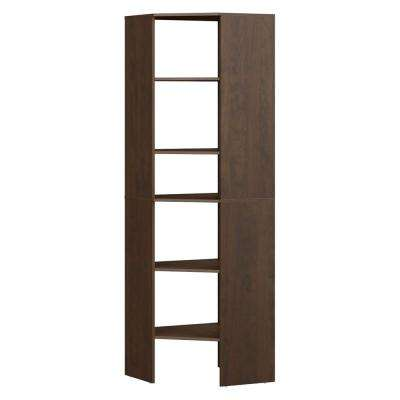 Style+ 25.12 in. D x 25.12 in. W x 82.46 in. H Chocolate Wood Corner Tower Wood Closet System