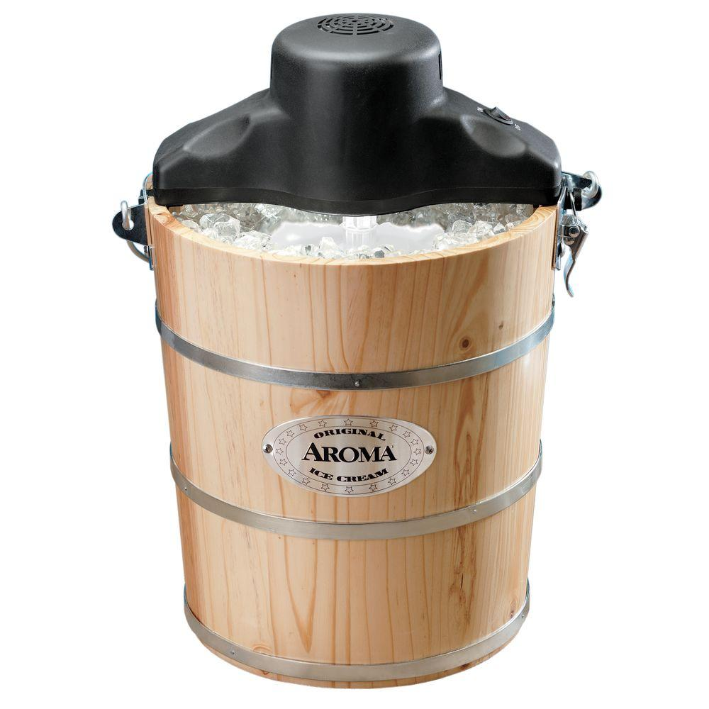AROMA 6 Qt. Wood Barrel Ice Cream Maker