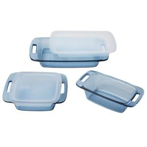 Click here to buy Pyrex 5-Piece Atlantic Blue Bakeware Set by Pyrex.
