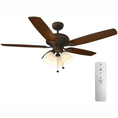 Rockport 52 in. LED Indoor Oil Rubbed Bronze Smart Ceiling Fan with Light Kit and WINK Remote Control