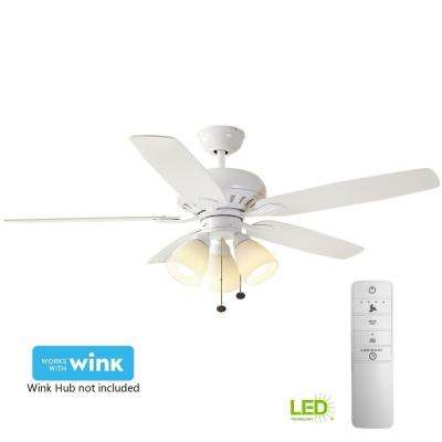 Rockport 52 in. LED Indoor Matte White Smart Ceiling Fan with Light Kit and WINK Remote Control