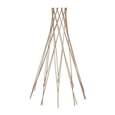 60 in. H Carbonized Skinless Peeled Willow Round Tepee Trellis