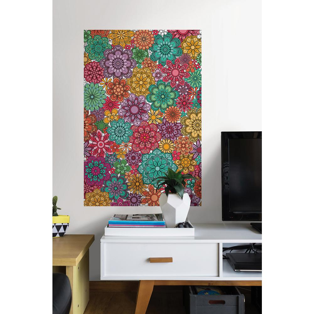 24 in. x 36 in. Marigold Floral Coloring Wall Decal