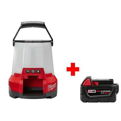 M18 18-Volt Cordless Lithium-Ion Radius LED Compact Site Light with Free 5.0AH Battery