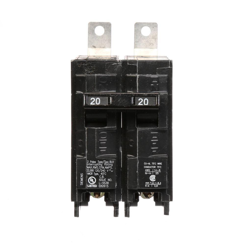 siemens 20 amp double pole type blh 22 ka bolt on circuit breaker