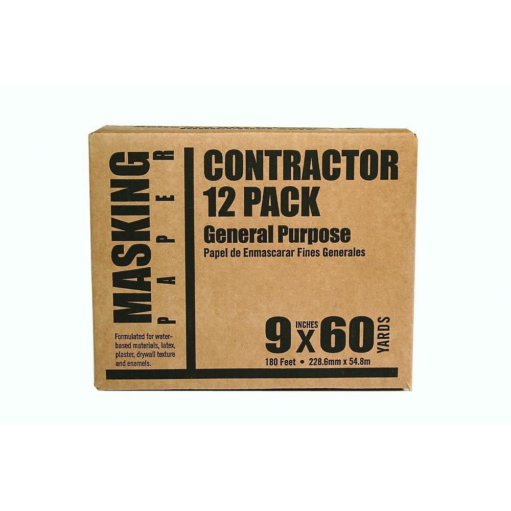Trimaco 9 in. x 180 ft. Brown Contractor Masking Paper (12-Pack)