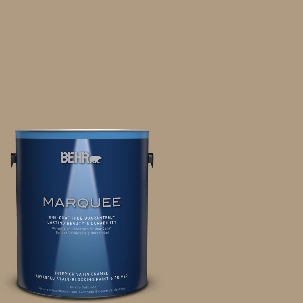 1 gal. #MQ2-24 Golden Olive One-Coat Hide Satin Enamel Interior Paint