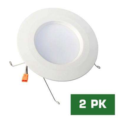 Standard Retrofit 5 in./6 in. White Recessed Housing LED Trim Soft Ceiling Light with 92 CRI, 3500K (2-Pack)