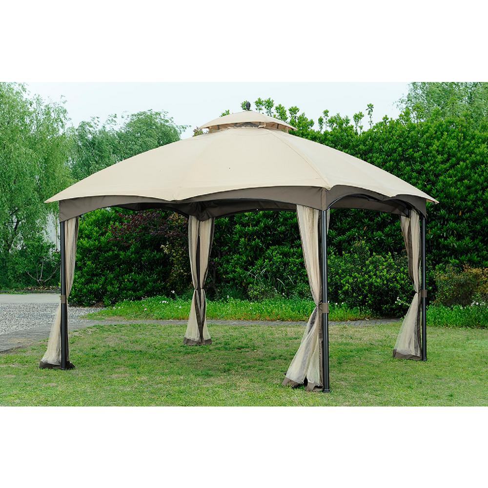 Sunjoy replacement canopy set beige deluxe for l gz933pst 10x12 bellagio