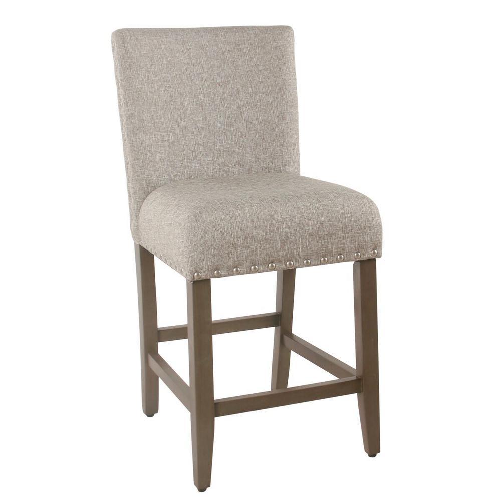 Upholstered 24 in. Sterling Gray Bar Stool