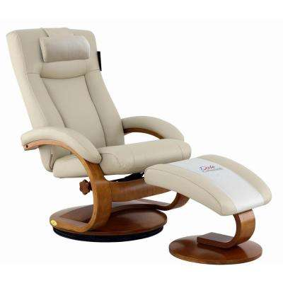 Hamilton Beige Air Leather Recliner and Ottoman with Pillow