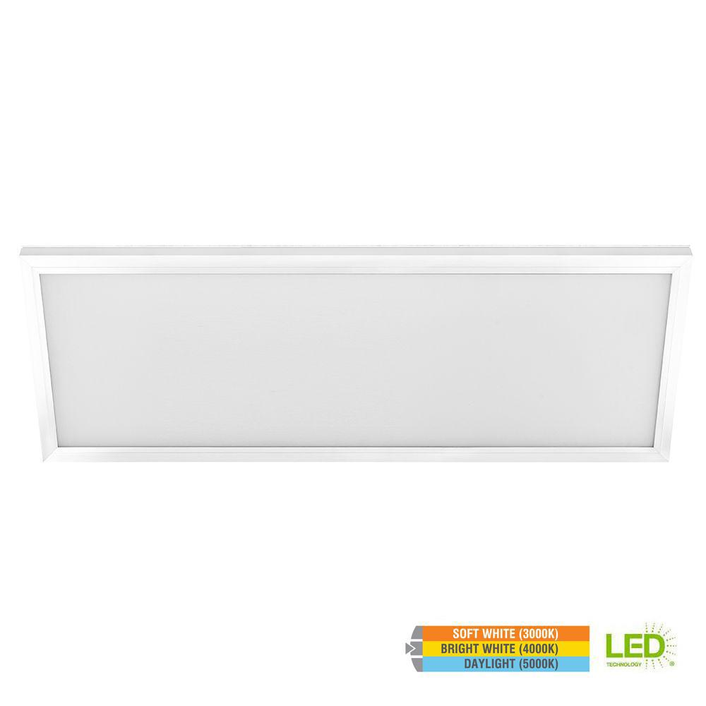 Commercial Electric 1 ft. x 4 ft. 50W Dimmable White Integrated LED Edge-Lit Flat Panel Flush Mount Ceiling Light with Color Changing CCT