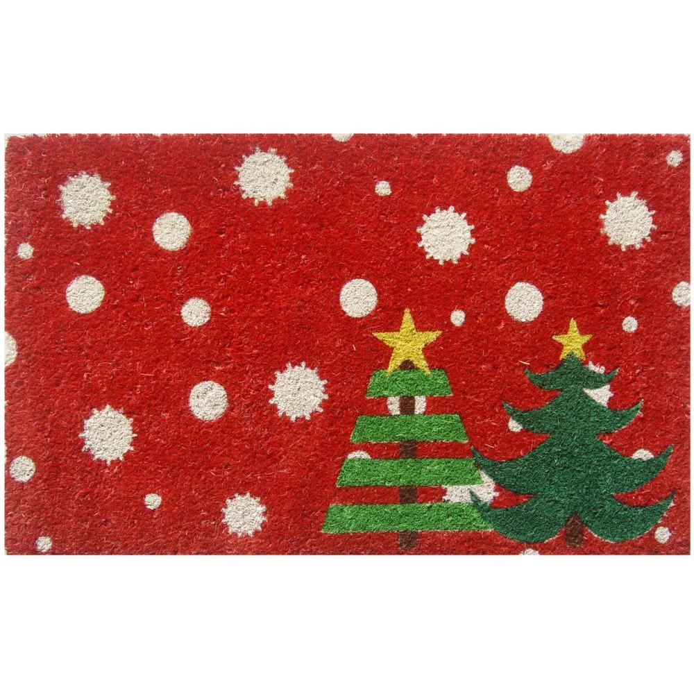 Entryways Christmas Trees 17 in. x 28 in. Non-Slip Coir Door Mat ...