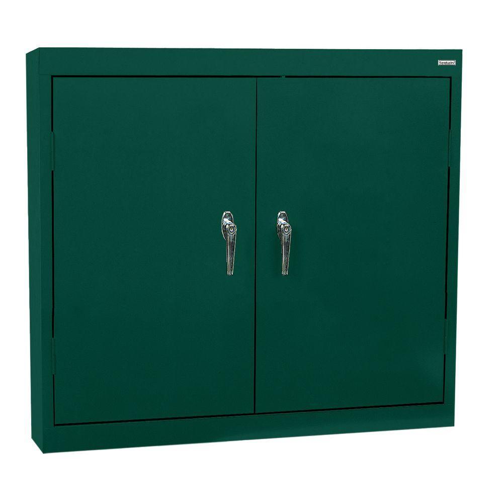 Sandusky 30 in. H x 36 in. W x 12 in. D Steel Wall Cabinet in Forest Green