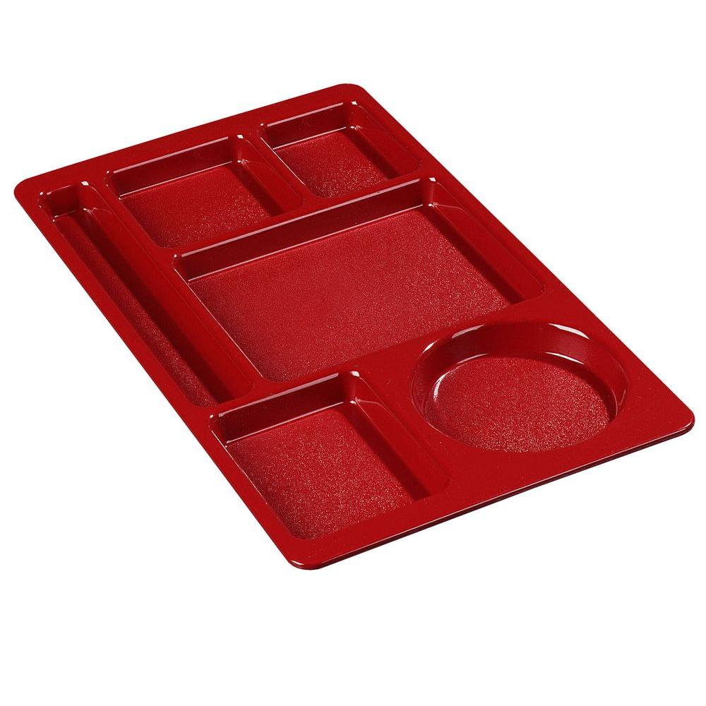 15x9 in. ABC Plastic Omnidirectional Space Saver 6-Compartment Tray in Red