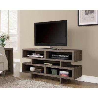 Hollow Core Dark Taupe Shelved Entertainment Center