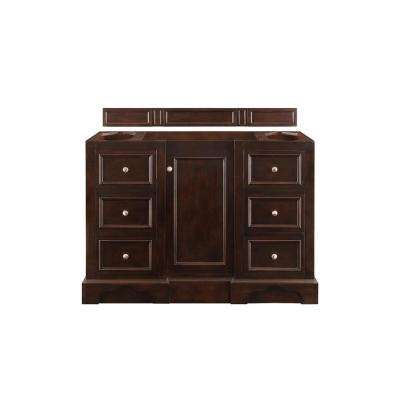 De Soto 48 in. W x 35 in. H Single Bath Vanity Cabinet Only in Burnished Mahogany with Satin Nickel Hardware