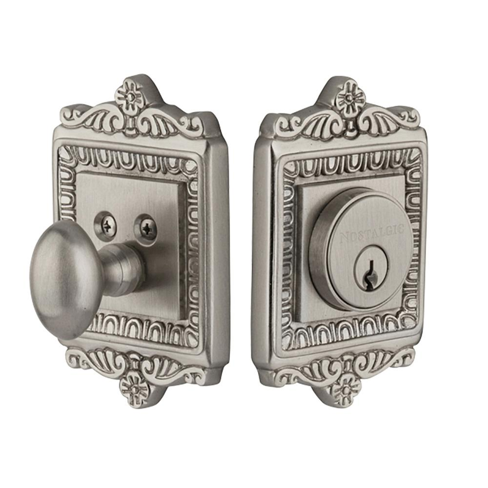 Nostalgic Warehouse Egg and Dart Plate 2-3/4 in. Satin Nickel Backset Single Cylinder Deadbolt
