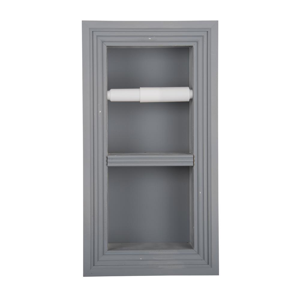 Newton Recessed Toilet Paper Holder 5 Holder in Primed with Melbourne Frame in Gray