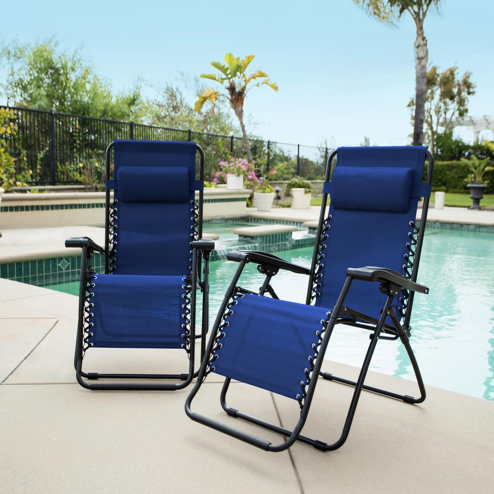 Caravan Blue Metal Infinity Zero Gravity Patio Chair (2-Pack)
