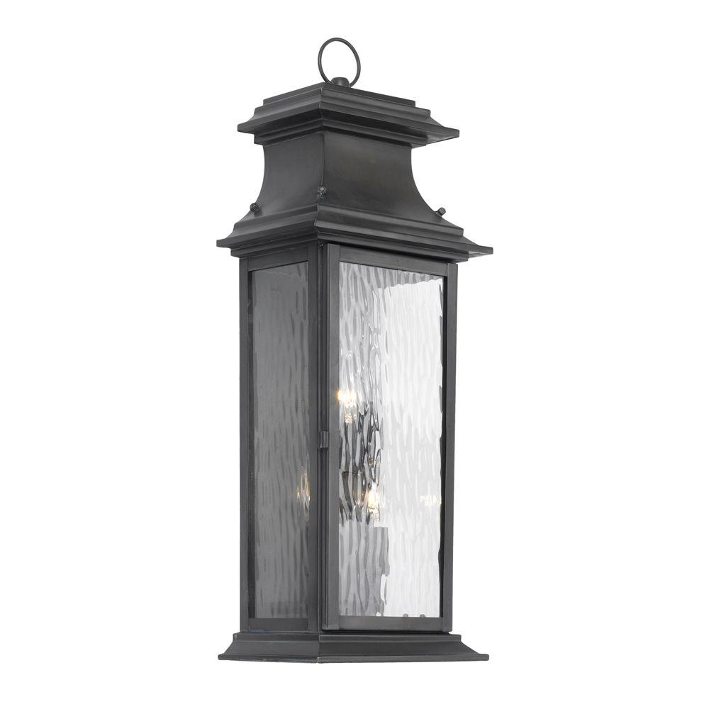 Titan Lighting Provincial 3-Light Wall Mount Outdoor Charcoal Sconce