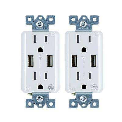 4 Amp High Speed USB Charger Duplex Outlet 15 Amp Tamper Resistant In-Wall Duplex Outlet with Ultra Charge Tech (2-Pack)